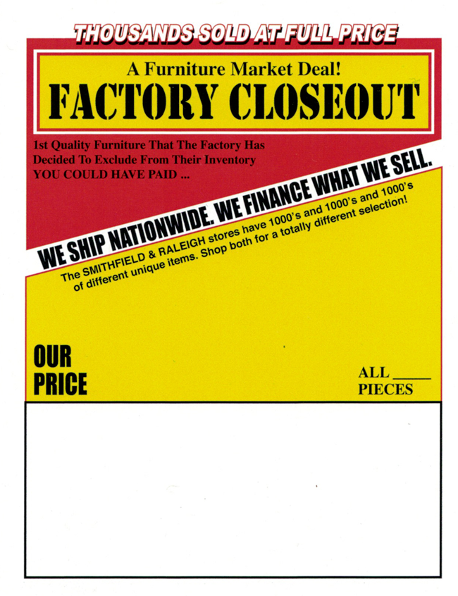 Factory Closeouts P.O.P. tag