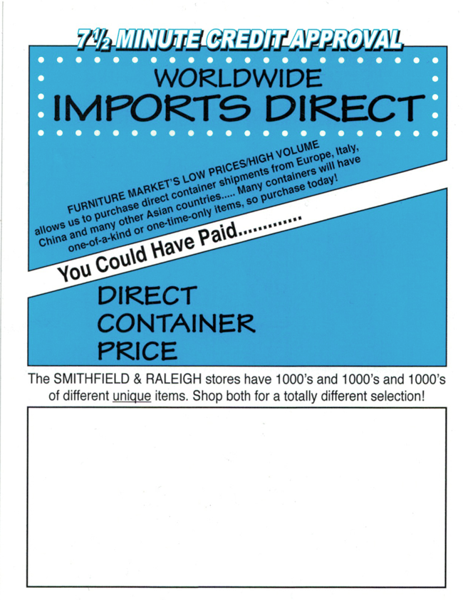 Imports Direct P.O.P. tag