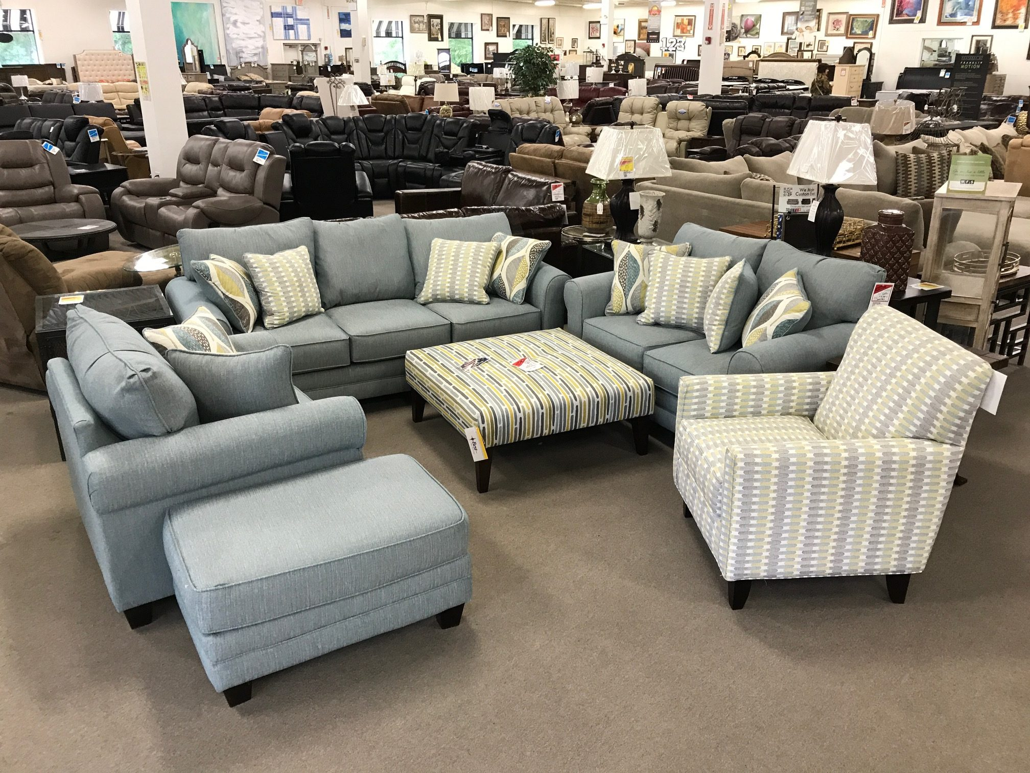 Decade Aqua Patterned Living Room Set Heavner Furniture Market